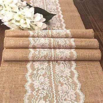 63 Burlap Table Runner with click for more ... Burlap Table Runner with Ivory or White Lace Center,