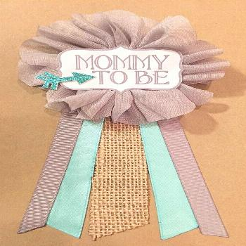 Baby Shower Gray Teal Arrow Burlap Baby Boy Shower Pin Corsage Glitter Mama Mama It's a b...#arrow