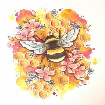 Beautiful and detailed bumblebee bee art print, with a detailed honeycomb -... Beautiful and detail