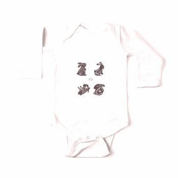 Black and White Bunnies Baby Long Sleeve Bodysuit Do you like fun and jovial bunnies? This design i