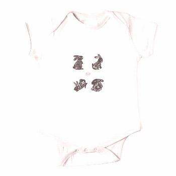 Black and White Bunnies Baby Short Sleeve Bodysuit Body short sleeves for babies. Available in 7 co
