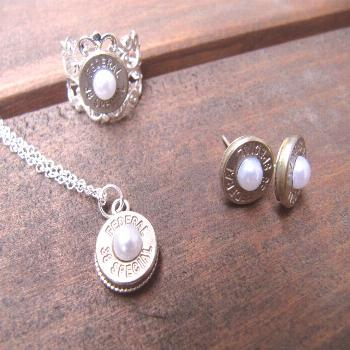 Bullet Jewelry- 38 Special Bullet Jewelry Set with  Earrings, Necklace and Ring with Pearl Accents