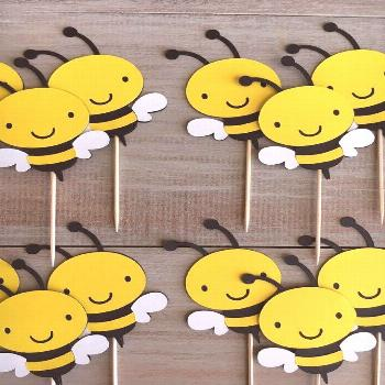 Bumble Bee Cupcake Toppers. Abeille fête danniversaire. | Etsy