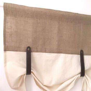 Burlap Curtains Kitchen Valance Faux Leather Tie Up Country Curtain Rustic Farmhouse Window T...#bu