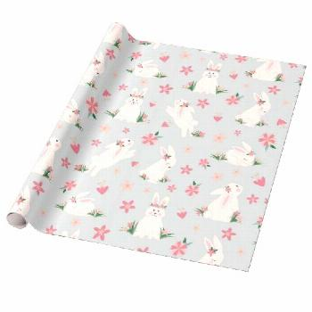 Cute Girly Easter Bunny Modern Pink Floral Wrapping Paper Cute Girly Easter Bunny Modern Pink Flora