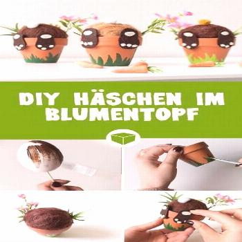 DIY bunny in a flowerpot: It's so easy to make cute bunnies that come out of the p ...#bunnies
