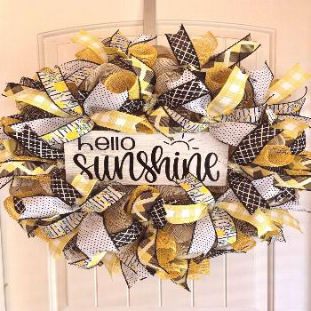 Excited to share the latest addition to my shop: Hello sunshine spring front door deco mesh burlap