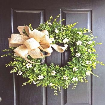 Farmhouse Boxwood Wreath, Burlap Wreath, Green Wreath, Greenery Wreath, Spring Wreath, Summer... Fa
