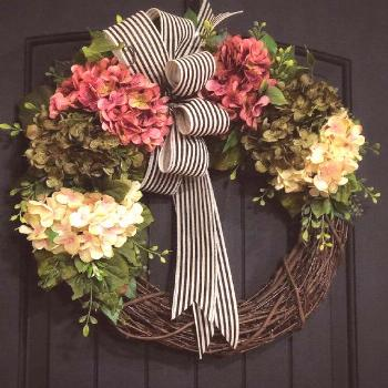 Front Door Wreaths, Spring Wreath, Hydrangea Wreaths, Grapevine Wreath, Country, Shabby Chic,... Fr