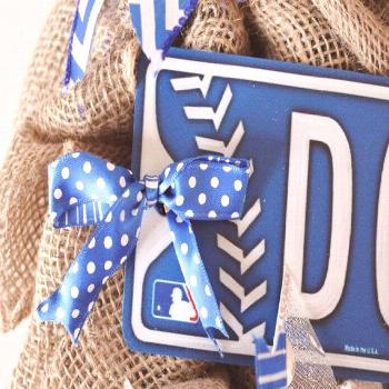 Items similar to Dodgers Baseball Burlap Wreath, Large, Blue and White, Front Door Wreath, Sp... It