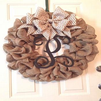 Large Burlap Wreath with Removable Grapevine Letter | Etsy