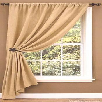 One of our most popular window treatments this year is the Burlap Unlined Single Tieback Curtain Pa