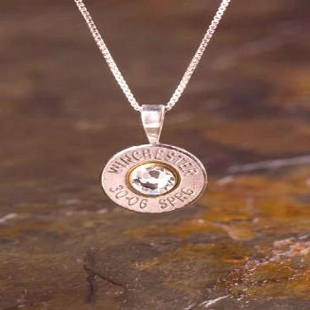 Our 30-06 Sterling Silver Bullet Head Necklace is made from a real, fired 30-06 bullet casing, genu