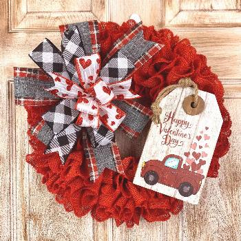 Red Burlap Valentines Wreath with truck tag, Happy Valentines Day wreath, Red truck wreath, h... Re