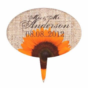 Rustic Western Country Burlap Sunflower Wedding Cake Topper ,