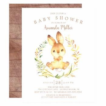 Sweet Baby Bunny Baby Shower Invitation