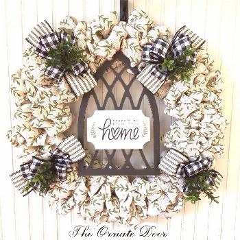 There's no place like home wreath, white burlap wreath, spring wreath, farmhouse wreath, everyday