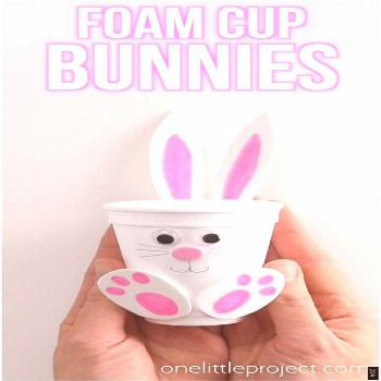 These foam cup bunnies are SO CUTE and simple! Fill them with candy, chocolate eggs, markers, or ev