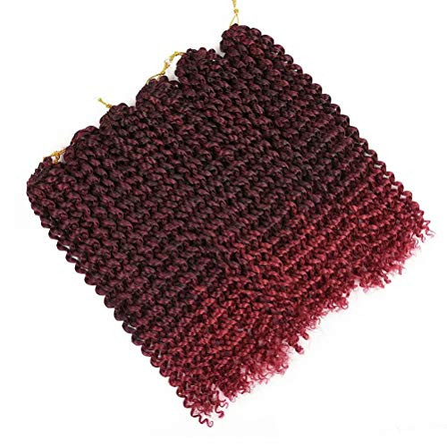 6 Packs Passion Twists Hair 18inch Ombre Burgundy Water Wave