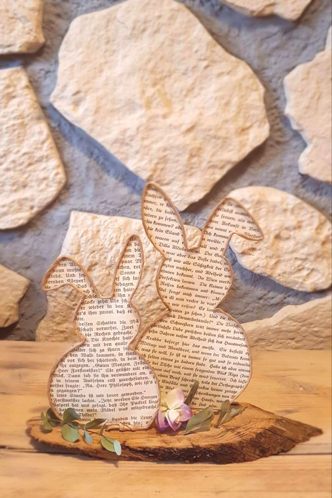 Easter bunnies in a double pack made of vine wire and old book pages.#book