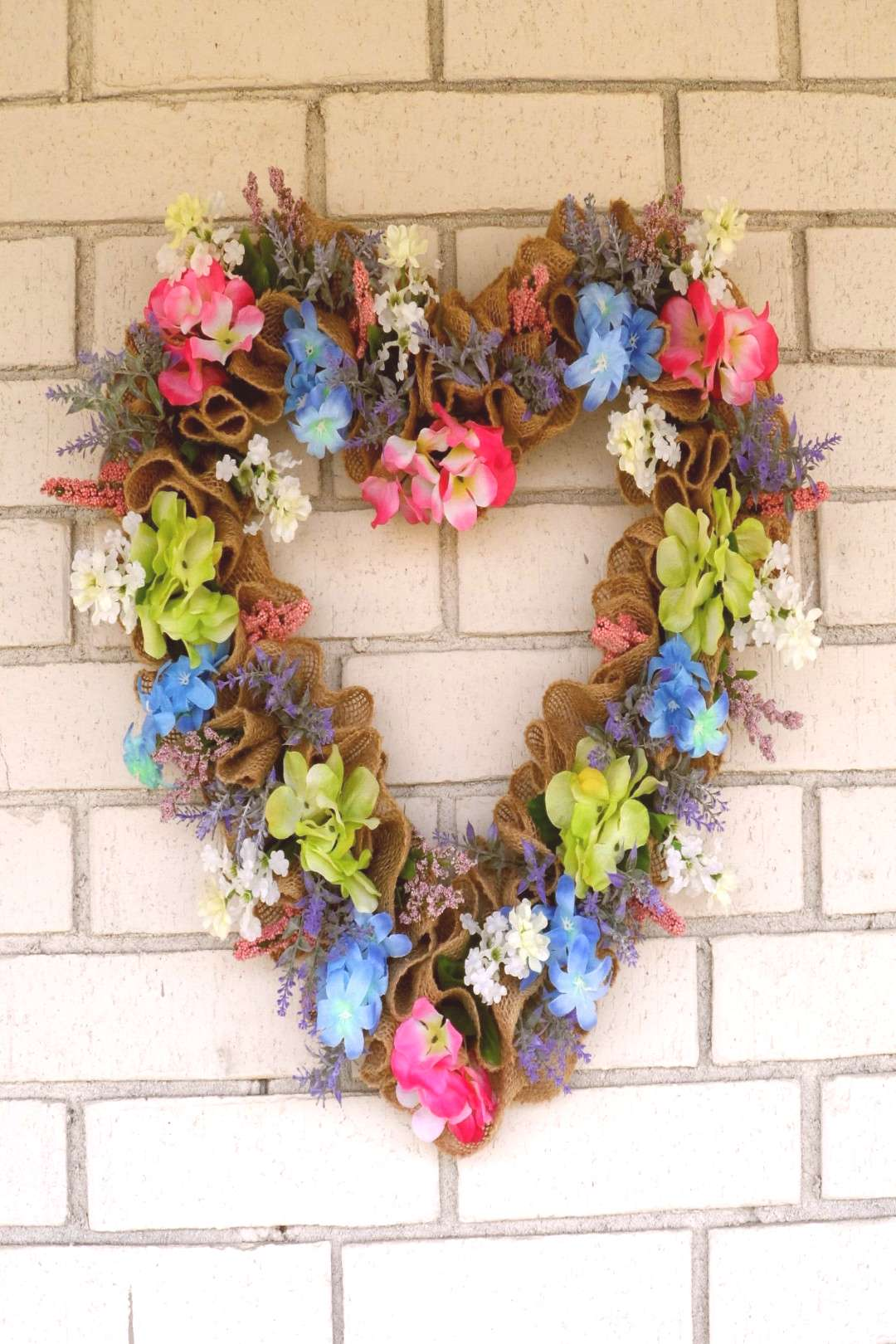 Heart Shaped Spring Floral Wreath for Front Door, Burlap Wreath for Spring, Floral Spring Wre... He