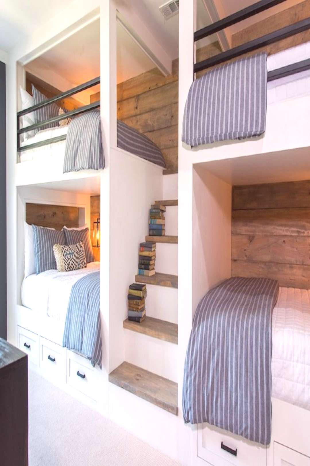 This bunk room is unlike any we've ever done before, because this one was built for adults rather